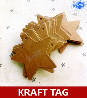 500pcs/lot , Five-pointed star kraft paper tag as Bookmarks / Message card / Mood card , paper gift tags (6cm*6cm)