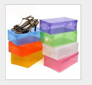 5pieces per lot new Transparent clear Plasic Foldable Shoes Box Storage Box For Shoes (Random Mix Colors)(China (Mainland))