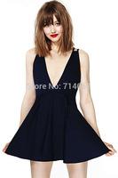 Summer dress 2014 sexy vestidos women clothes black chiffon porm dress deep v neck backless banage cocktail party dresses GZ98