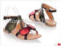 Free shipping new 2014 casual fashion paillette cherry hasp 40 - 45 plus size flat sandals women sandal