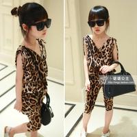 kids clothes sets new 2014 fashion children clothing set female child thin leopard v-neck sleeveless large pocket harem pants