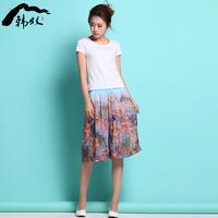 Myrmeco- 2014 spring print chiffon wide leg pants shorts slim culottes pants women's trousers