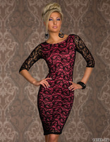 Free shipping 50pcs/ lot 2014 Europe and America Ladies dress sexy clubwear dress package hip big cashew lace dress