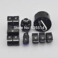 7Pcs Set Chrome Headlamp Window Mirror Switch For VW Jetta Golf MK5 Rabbit