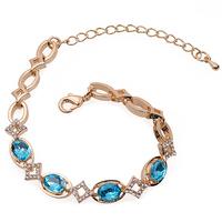 Zinc Alloy 18K Gold Tone Blue Oval Crystal Rhinestone Bracelet For Women