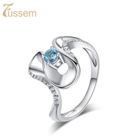 FUSSEM S925 Silver Natural White Topaz and Blue Topaz Ring 100% Hand-Inlaid Jewelry Free Shipping FR3424328