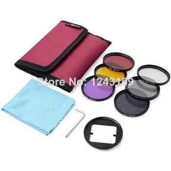 52mm Filter Set(UV CPL ND4 Color Filter)+Adapter+Bag for Gopro Hero 3+ LF362-SZ