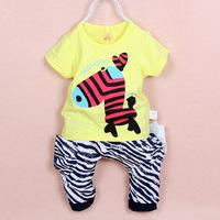 Retail 2014 Summer 73~90cm Baby Girls Boys Cute Little Zebra Clothes Set, Children Short Sleeves Cartoon Fashion Clothes