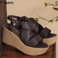 Women's  2014 summer new arrival genuine leather comfortable platform wedges sandals
