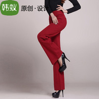 Myrmeco- fashion red OL outfit pants wide leg pants thickening trousers casual pants feet
