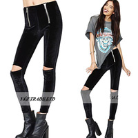 Elastic Waist Dual zippers Decoration velvet Pencil Pants 6 size Elasticity Slim Sexy Exposed knee capris Trousers pants HDY72