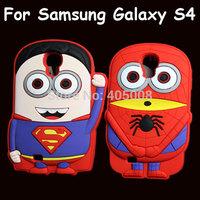 3D Cute Cartoon Superman Minions Spiderman Batman Soft Rubber Superhero Silicone Case Cover for Samsung Galaxy S4 i9500, 10pcs
