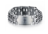 Free Shipping 2013 New Hot Sale Fashion New Bible Cross chain Men's 316 titanium steel Bracelets for men GS620 wholesale 2 pcs