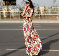 High Quality  Women Flora  Lace Full Long  Dress  Elegant Short Sleeve Maxi  Dress 2014 Summer with Belt Plus Size XXL