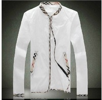2014 brand  Men's jacket Thin transparent long sleeve is prevented bask in clothes Suit collar air conditioning Coat