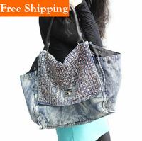 Washed Denim New Europe Style Fashion Rivet Bags Handbags Women'S Blue Denim Handbag Shoulder Bag Women Messenger Bag Celebrity