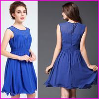 Free Shipping Hot Sale 2014 Blue O-Neck Off The Shoulder Banquet Short  Dress Chiffon Elegant Evening Dress
