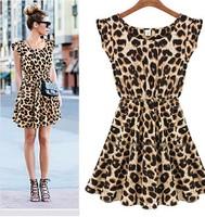 Summer Dress 2014 New Sexy Casual Women Dress Leopard Print Sleeveless Ruffles Dresses Girl Sundress S-XXL
