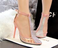 2014 summer women's fashion sandals 10cm high heels shoes female t strap rhinestone sy-216