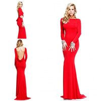 2014 New Design Red Color Bateau Long Sleeves Open Cowl Back Formal Event Dress Evening Dress Women Gown Free Shipping WL216