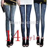 Imitation cowboy Jeggings High elastic Ninth pants Blue Black Leggings Cotton blend 14style can be choice