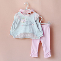 NEW 2014 Spring/Autumn Girls 3 Piece suits T-shirt +pants+Lace Headband Baby princess flowers clothing set