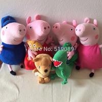 Free Shipping 30cm Peppa Pig Plush Toys Peppa George Grandpa Peppa Grandmother peppa Bear and George Dinosaur