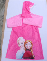 4pcs/lot Frozen Elsa Anna raincoat S-M-L-XL, 4 Buttons PVC raincoat children cartoon raincoat