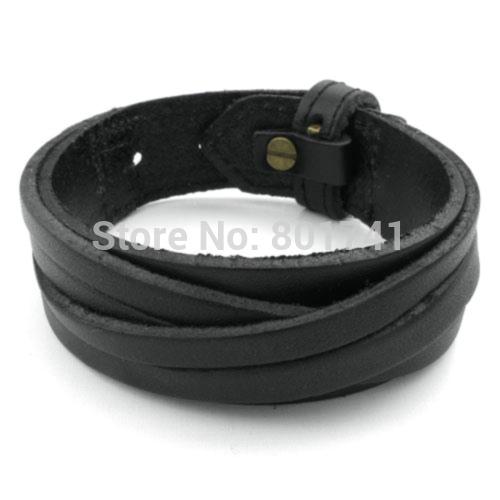 Fashion Mens Womens Black Alloy Clasp Jewelry Leather Bangle Rope Unisex Surfer Wrap Bracelet Christmas B3163(China (Mainland))