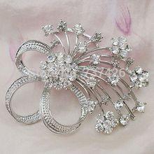 free shipping 30pcs pack Flower Corsage Pin Bridal Sparkling Crystal Rhinestones Broach DIY Flower Bouquet Brooch