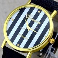 10 Colors Fashion Vertical Stripes Leather Band Women Lady Girl Clock Quartz Wrist Watch