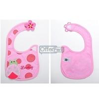Pink Thicken Soft Waterproof Cotton Baby Bib Feeding Product Free Shipping