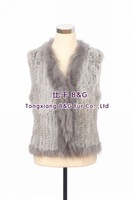 BG30307 New 2014 Ladies Genuine Knitted Rabbit Fur Vest with Racoon Dog Collar Wholesale Retail Fashion Real Fur Vest