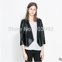 2014 hot sale spring autumn women Stitching leather jacket leather cardigan coat,women Fur clothing black free shipping