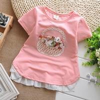 2014 new summer girl T-shirt  lady Sasa small baskets small hem cotton T-shirt  wholesale children's clothing free shipping