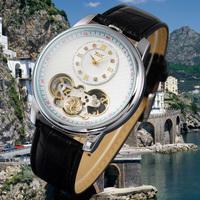 Luxury Sliver Mens Automatic Mechanical Man Watch Tourbillon Skeleton Moon Phase ML0449