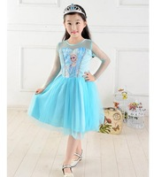 Retail new 2014 baby girls frozen dress brand tutu princess party dresses Anna  Elsa children kids summer clothes for 3-7T A131