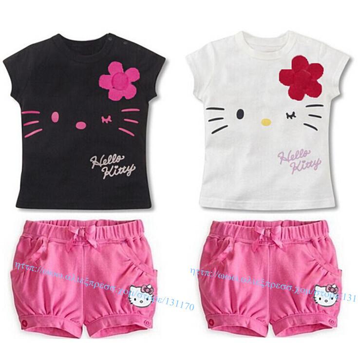 1 Set Retail 2014 New cotton kids clothing set short t shirt shorts pants hello kitty baby kids big face eyes cute cats summer(China (Mainland))
