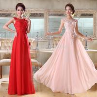 Luxury custom made size2-18 long bridesmaid dress pink/red in stock Sleeveless Chiffon bridesmaid dress free shipping