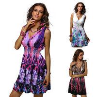 2014 Free Shipping New Design Women Beach Dress Sexy Women Colorful Printed Lady Summer Dress