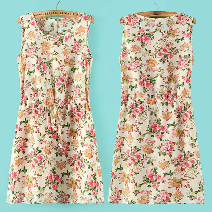 New 2014 Fashion Summer woman's Printing Flower clothing Lady Girl Chiffon Dress Georgette clothes Sleeveless Dress 4134(China (Mainland))