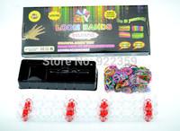 Wholesale -best Loom Bands set Fun Loom Rubber Kit DIY Colorful Bracelets  Loom Tool, 600 Multi-color Band . Clips,10 set/pack
