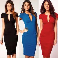 2014 Elegant Ladies' V-Neck Dress Fashion Celebrity Pencil Dress Women Work Slim Knee-Length Pocket Party Bodycon Dress S M L