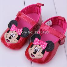 Newborn Prewalk PU Shoes Baby MICKEY Cartoon Princess Girls Toddler Shoes Baby Shoes Children First Walkers Soft Bottom Shoes(China (Mainland))