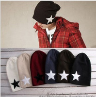 Skullies Men and women pentagram star cap cap sets loose non-mainstream hat knitting hat wool hat