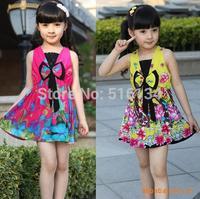 2014 summer HOT ! NEW girls clothing tutu dress  2-7 age children clothing girl dress bowkont  and china flower dress