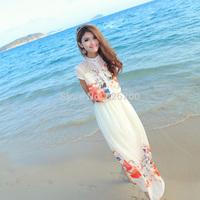 2014 Summer Fashion Women Chiffon O-Neck Short sleeve Print Floral Slim Elastic Waist Lace Full Length Beach Dresses #W0092