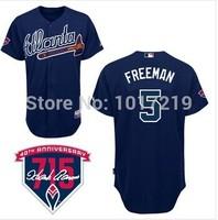 Cheap 2014 Men's Baseball Jersey Atlanta Braves #5 Freddie Freeman Blue Cool Base Jersey W 715Patch,Embroidery Logo,Size 48-56