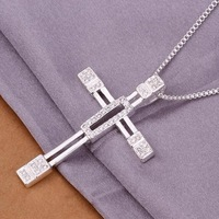 Hot! 2013New fashion jewelry 925 silver necklace silver pendant cross of Jesus .Free shipping N344