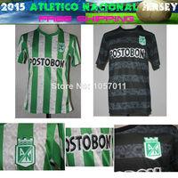 Top 2014 2015 Colombia Atletico Nacional Home Green White soccer jerseys camiseta de futbol Away Black football shirts uniforms